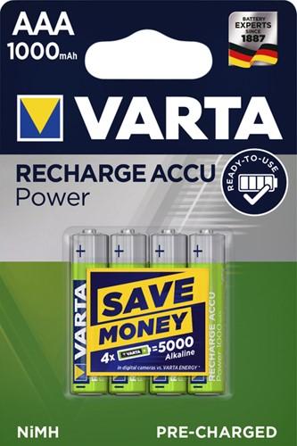 Batterij oplaadbaar Varta 4xAAA 1000mAh ready2use
