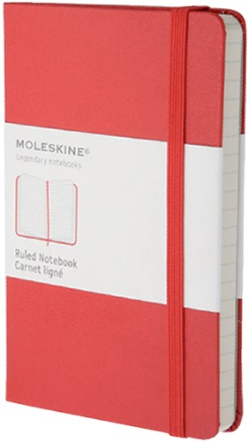 Notitieboek Moleskine pocket 90x140mm lijn rood
