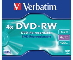 DVD-RW VERBATIM 4.7GB 4X 5PK JC 1 STUK