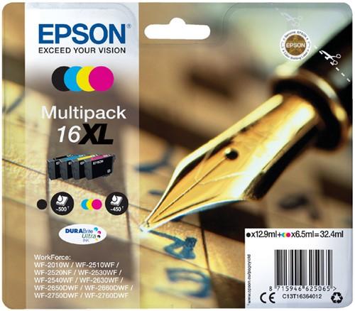 Inktcartridge Epson  16XL T1636 zwart + 3 kleuren HC
